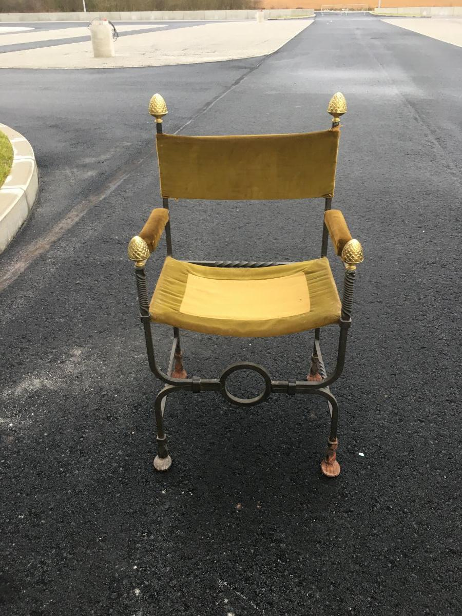 Old Curule Armchair In Wrought Iron And Brass Circa 1900/1920-photo-3