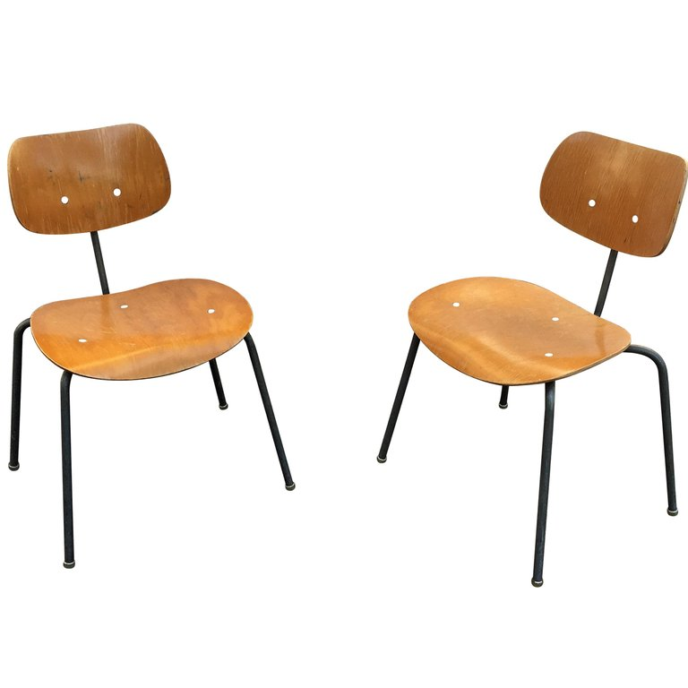 Egon Eiermann Pair Chairs Ed. Wilde & Spieth, Circa1960