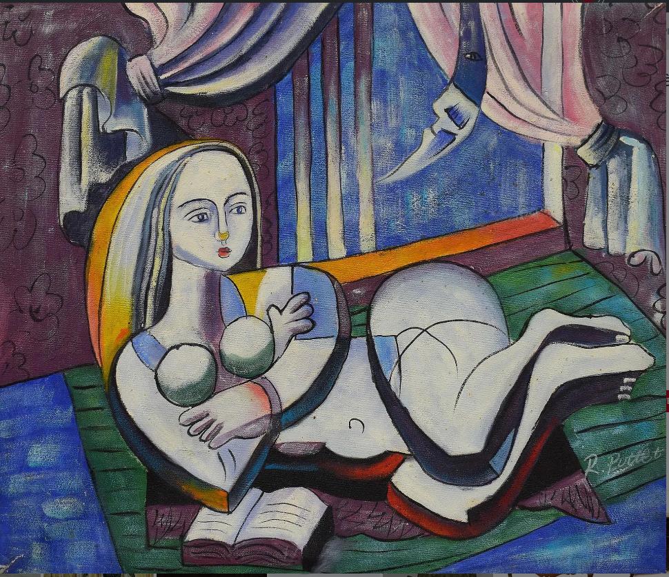 """Pottet R. """"jeune Femme Au Livre"""" Huile Sur Toile Signée En Bas à Droite - 50x60"""