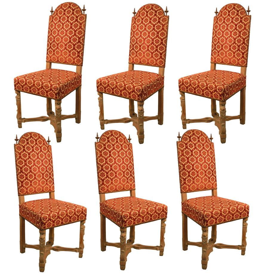 Suite De 6 Chaises Néo Classiques  En Chene Blanchi Circa 1940