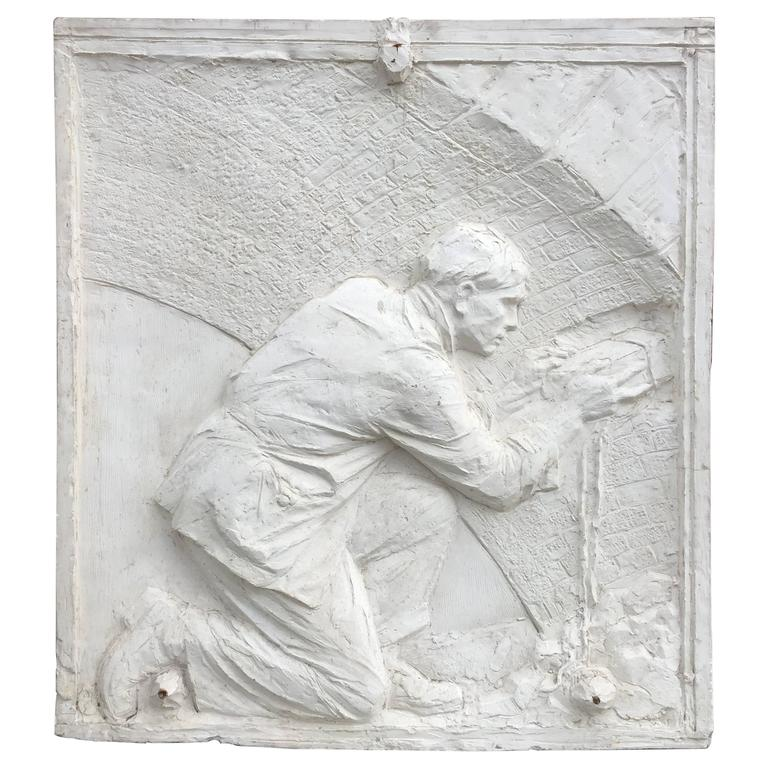 Old Bas Relief Plaster Representative A Mason, Art Deco Period