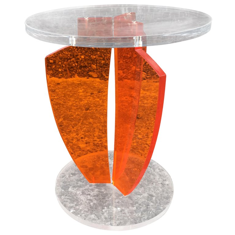 Charming Small Gueridon In Perpex Transparent And Orange, Circa 1980