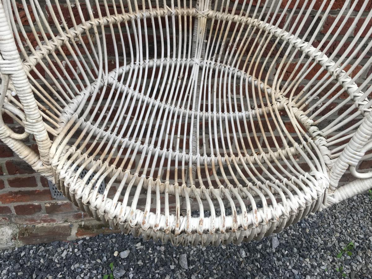 Paire De Fauteuils à Suspendre En Bambou Peint Circa 1970-photo-4
