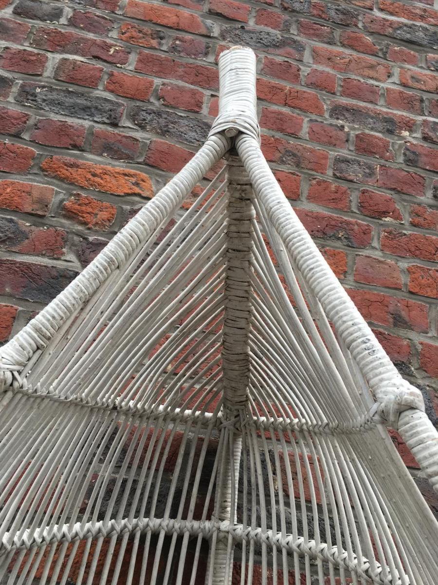 Paire De Fauteuils à Suspendre En Bambou Peint Circa 1970-photo-1