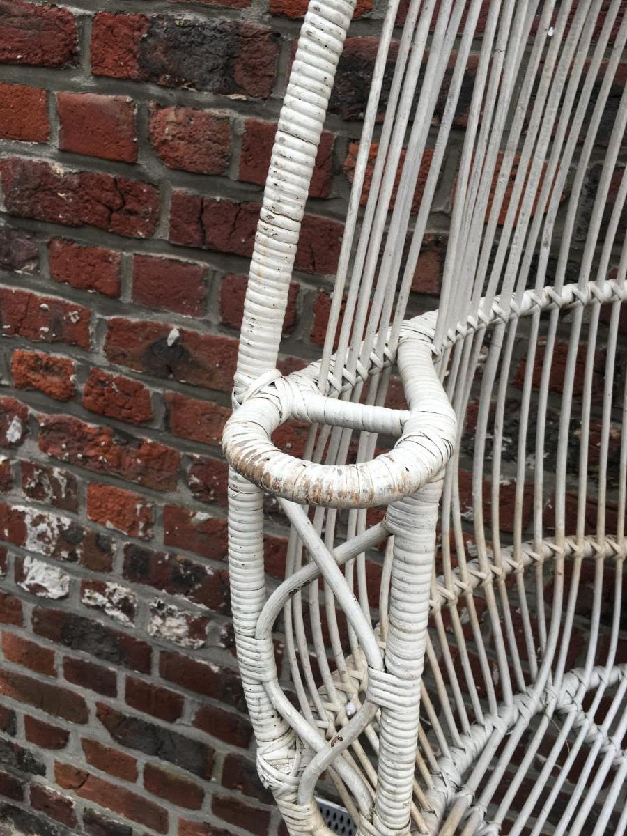 Paire De Fauteuils à Suspendre En Bambou Peint Circa 1970-photo-2