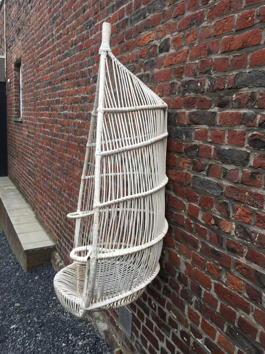 Paire De Fauteuils à Suspendre En Bambou Peint Circa 1970-photo-3