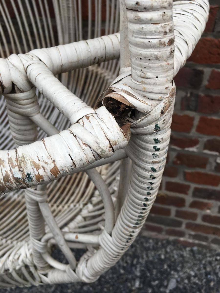 Paire De Fauteuils à Suspendre En Bambou Peint Circa 1970-photo-5