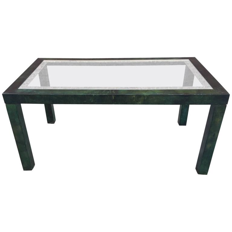 Aldo Tura, Lacquered And Varnished Parchment Table, Circa 1970 Glass Top