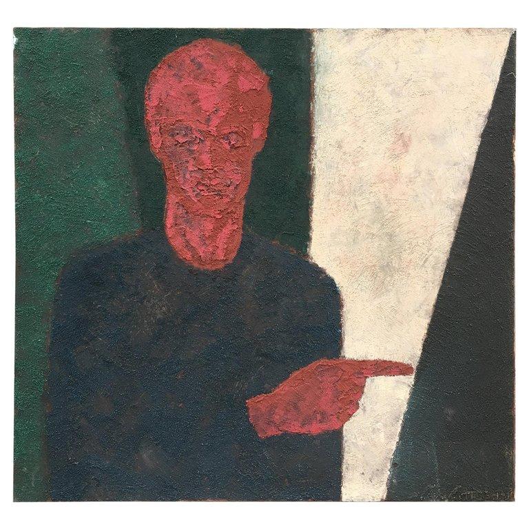 Marko Milovanovic (1965-) Self-portrait, Mixed Media Dated 1991