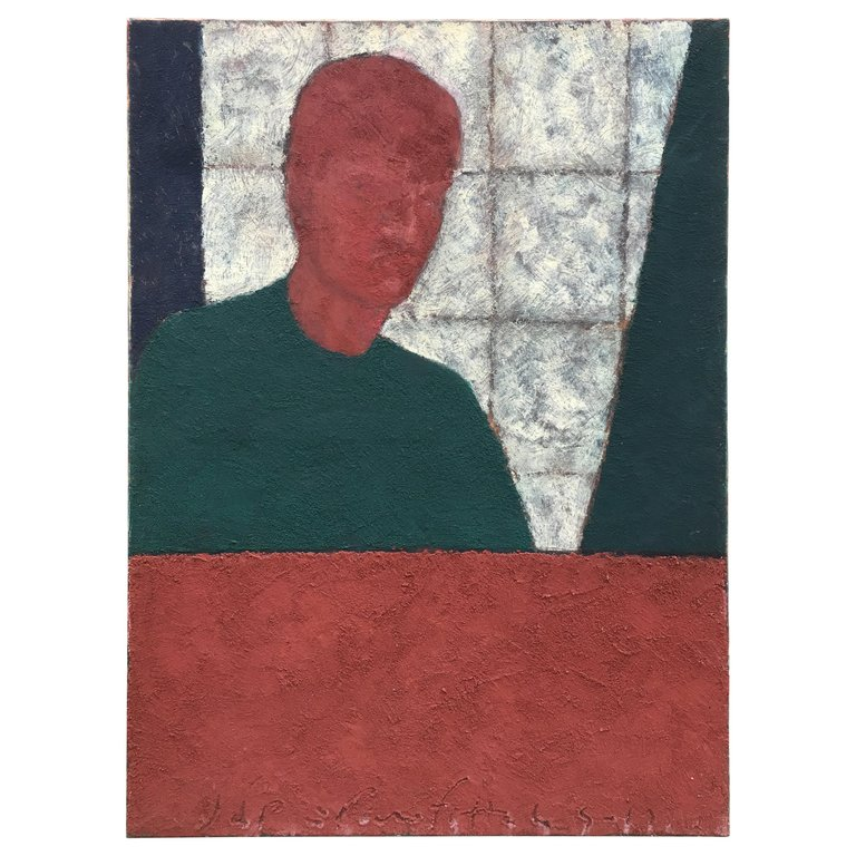 Marko Milovanovic (1965-) Self-portrait, Mixed Media Dated 1991