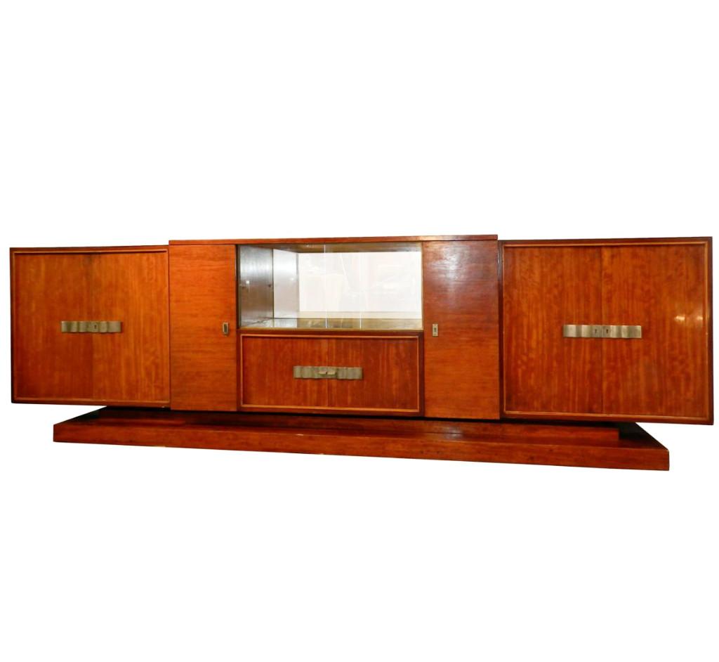 Decoene Freres, Tres Grande Enfilade Epoque Art Deco En Placage d'Acajou Moire, Vers 1930