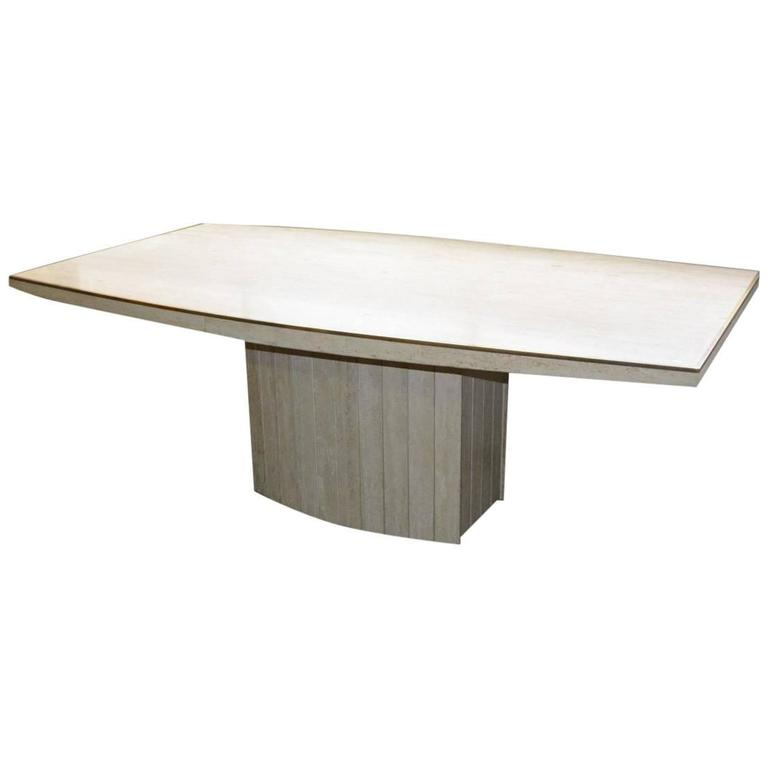 Jean Charles, Large Table In Travertine Around 1970/1980,