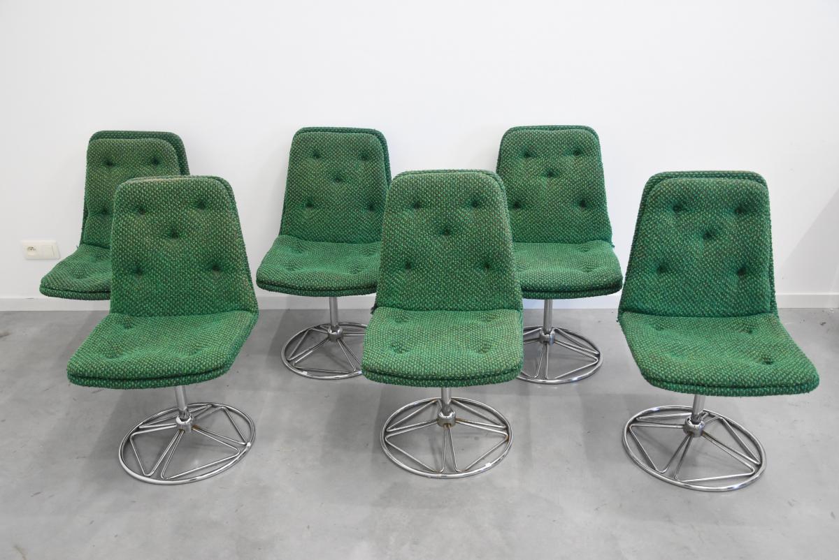 Série De Six Chaises Vintage  Tournantes En Tissu Vert Circa 1970