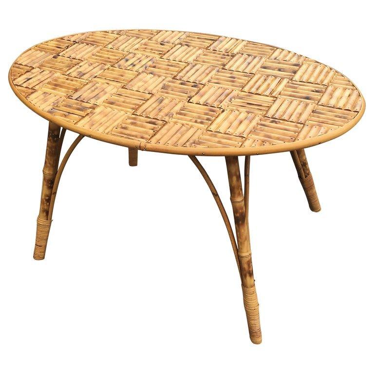 Table De Salon En Bambou, Plateau Composé De Morceaux De Bambous Circa 1960/1970