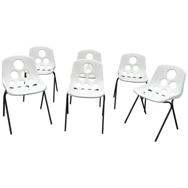 Suite Of 6 Stackable Plastic Chairs, Style Guariche, Circa 1960