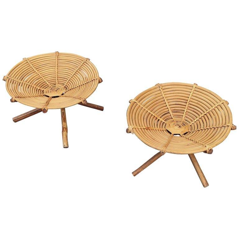 2 Cups Or Small Seats In Bamboo Circa 1970
