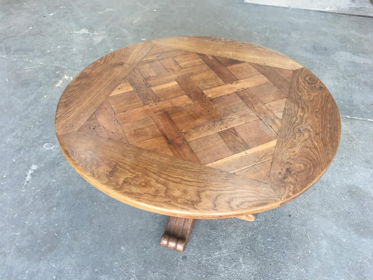 Table Gueridon Louis XIII Style Solid Oak, Circa 1950-photo-3