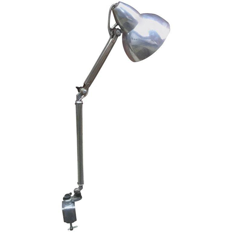 Lampe Art Deco Articulée En Métal Chrome Vers 1930/1950