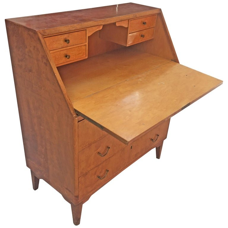 Secretaire/scriban Art Deco En Placage d'érable Circa 1940/1950