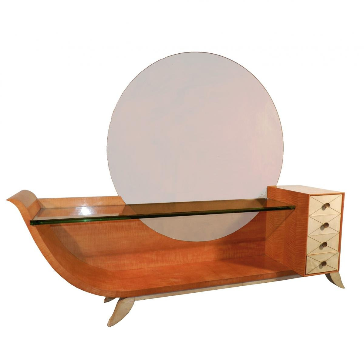 Very Large Dressing Table Art Deco, Mahogany Blond, Parchment And Mirror
