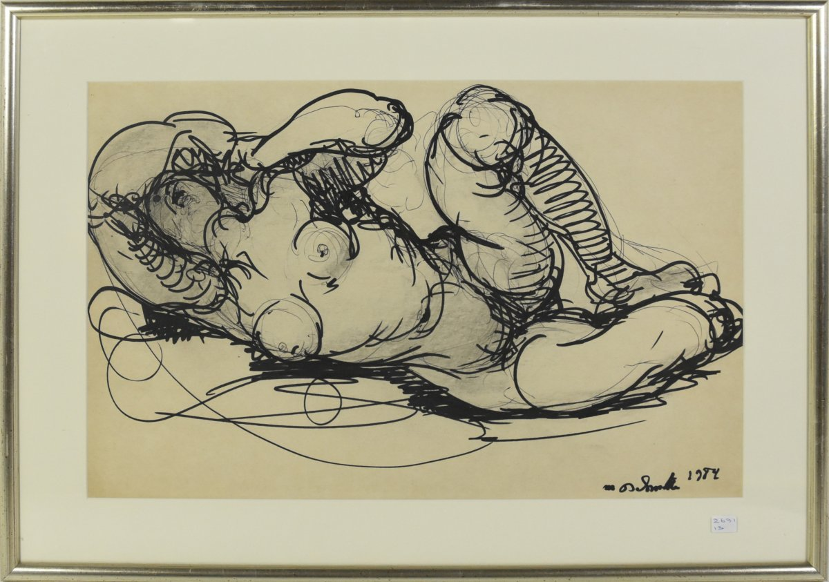 """Felt Drawing By Marcel Delmotte """"nude Woman"""" Signed And Dated 1984 (46 X 31cm)"""
