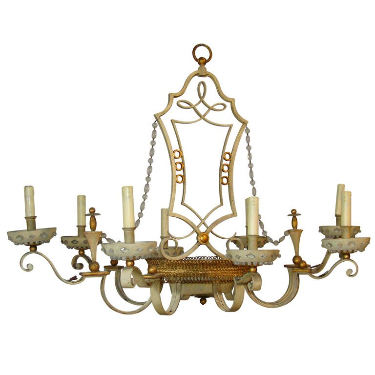 Home Rings Chandelier In Lacquered And Gilded Sheet, Towards 1950 Very Good Condition
