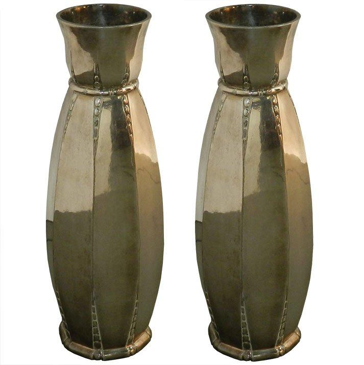 Galia, Pair Of Vintage Art-deco Vase In Silver Metal Circa 1930