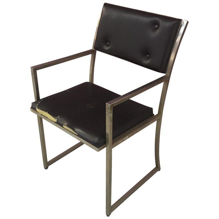 Guy Lefevre Steel Office Chair, Maison Jansen, Circa 1970