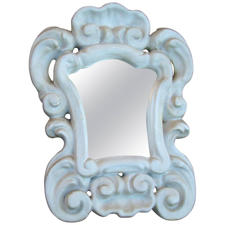 In The Gout Of Serge Roche Small Mirror Baroque 1940/1950 In Plaster