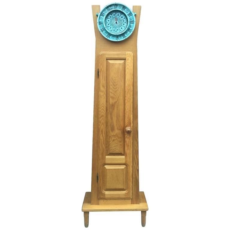 Guillerme Et Chambron, Horloge En Chene Circa 1970, Cadran En Céramique De Boleslaw Danikowski,