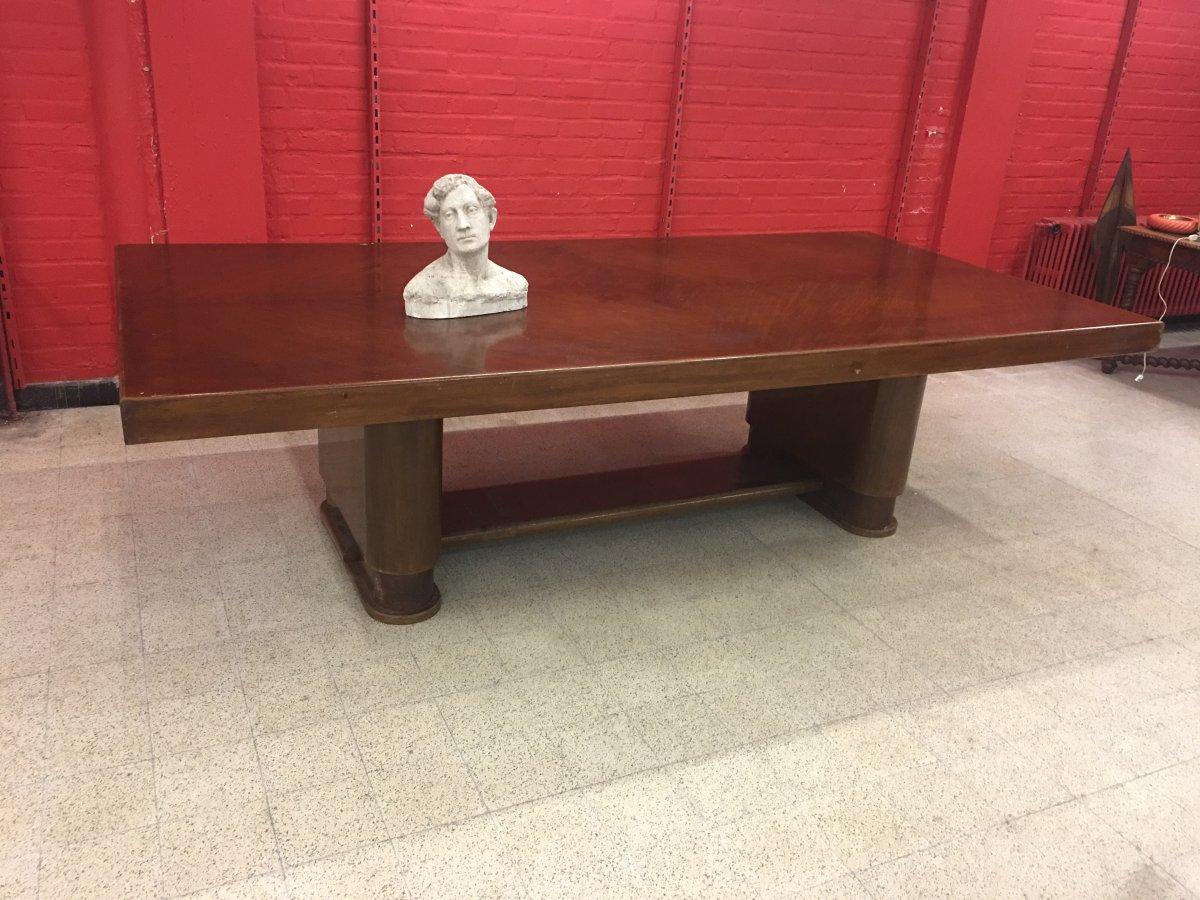 Tres Grande Table Art Deco En Acajou Et Placage d'Acajou Circa 1930