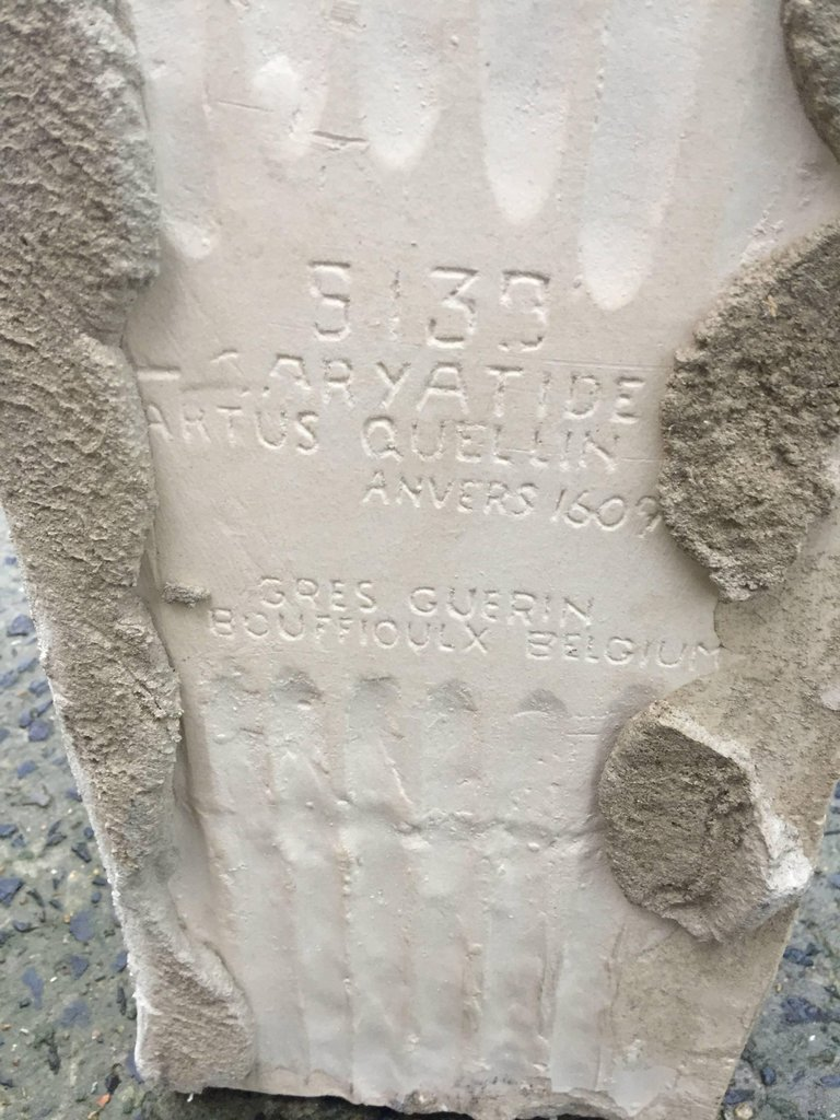 Cariatide En Grès De Bouffioux Réalisée Par Guerin. Inspirée Par Artus Quellin, XVIIème.-photo-1