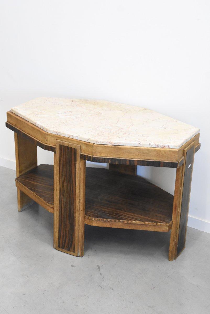 Art Deco Pedestal Table In Oak, Macassar Ebony And Marble Circa 1930