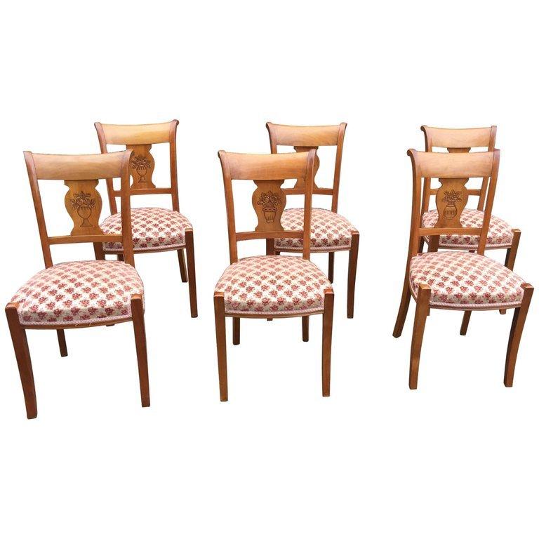 6 Chaises Neo Classiques En Merisier Circa 1950 (restaurées)