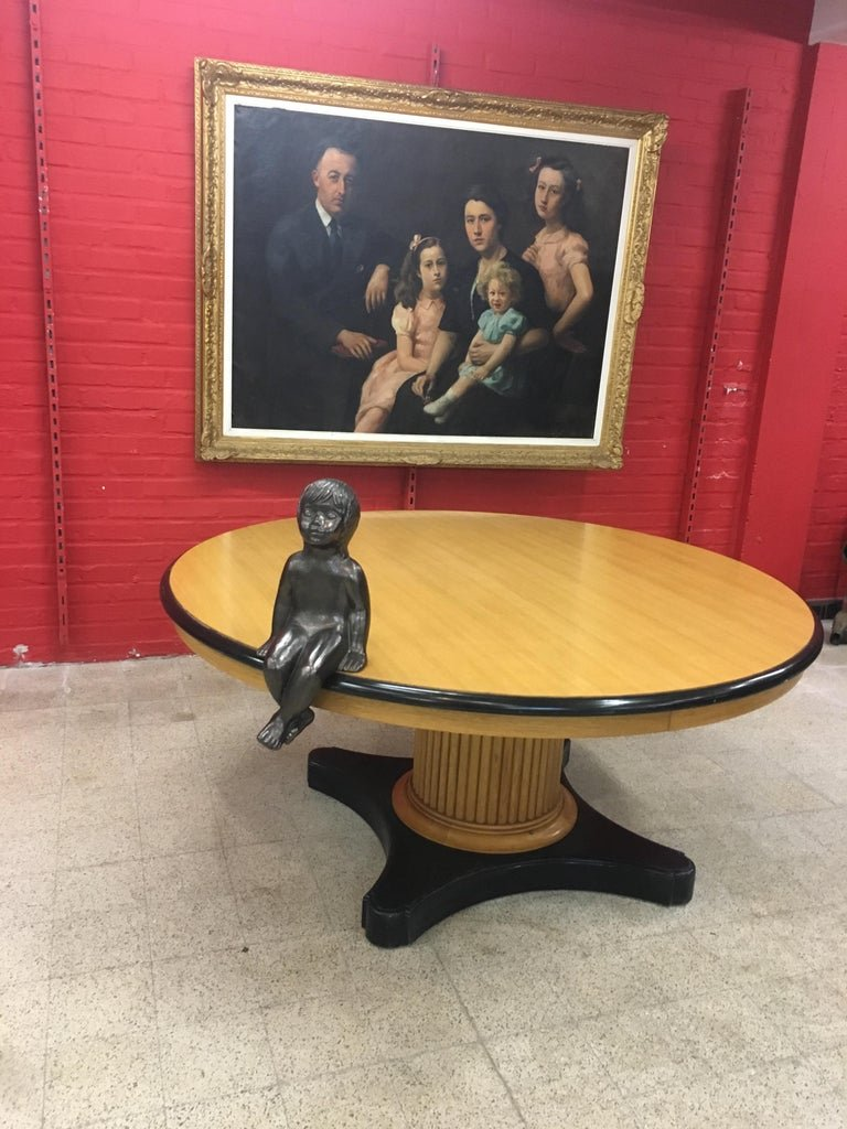 Large Pedestal Table In Light Oak And Blackened Oak Circa 1940/1950 Attributed To Decoene Freres