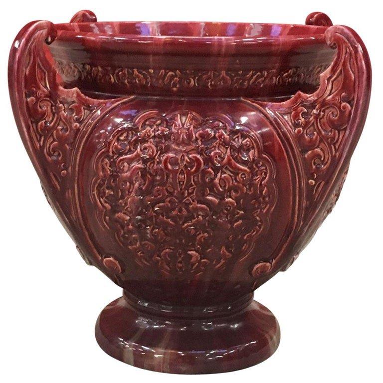 Jerome Massier, Tres Grand Cache Pot Orientaliste, Art Nouveau, Vallauris Fin XIX ème