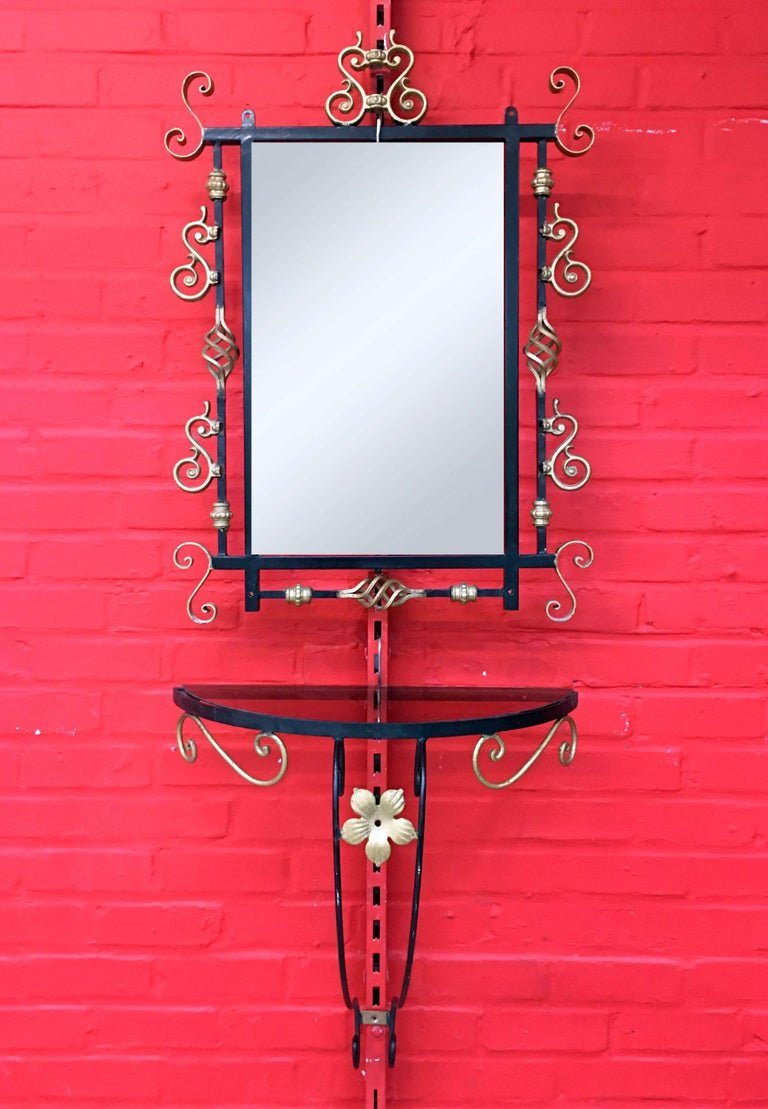 Wall Console And Its Neo Baroque Style Mirror Circa 1950/1960