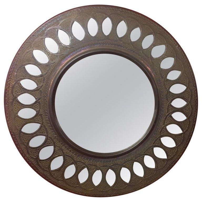 Hammered Copper Mirror Circa 1950
