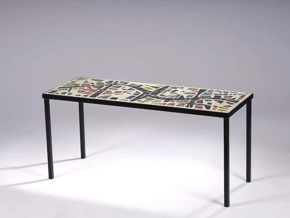 Table De Salon, Dans Le Style de jacques Avoinet, Circa 1960 (ciment, Verre Et Métal)