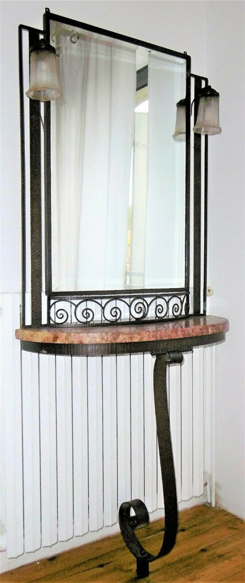 Art Deco Console In Hammered Iron, And Its Circa 1930 Mirror