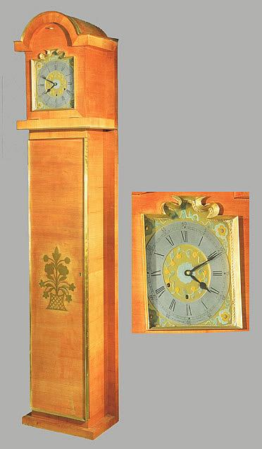 seret decorateur horloge comptoise art deco merisier laiton et bronze cadran marque. Black Bedroom Furniture Sets. Home Design Ideas