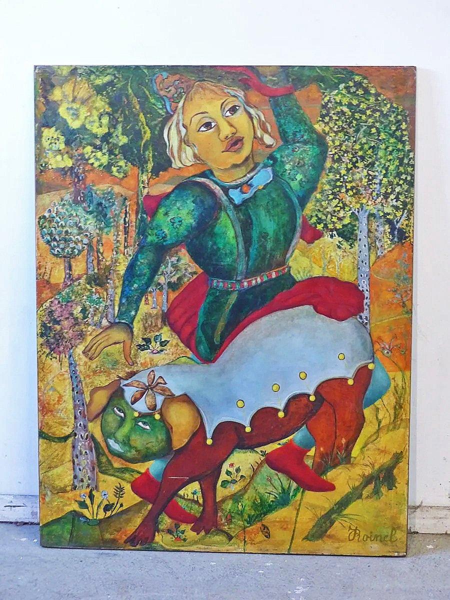 Jacqueline Roinel (1918) Composition, Huile Sur Panneau ,circa 1970