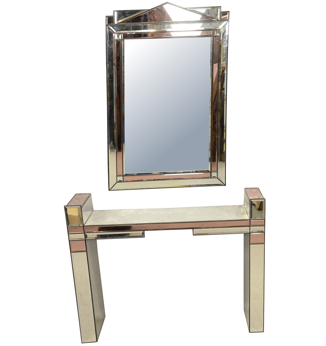 Console Et Son Grand Miroir , Blanc Et Rose, Vers 1970/1980