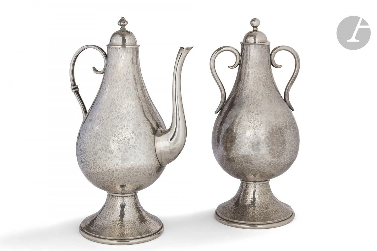 Jean Despres (1889-1980) Pendant Formed A Covered Urn And An Art Deco Jug