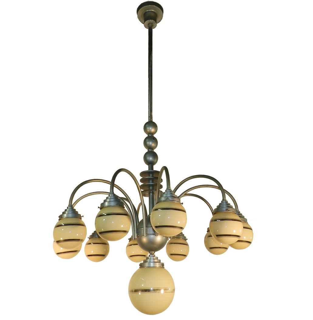 Large Modernist Chandelier Aluminum And Tinted Glass, Art Deco Period Circa 1930/1950