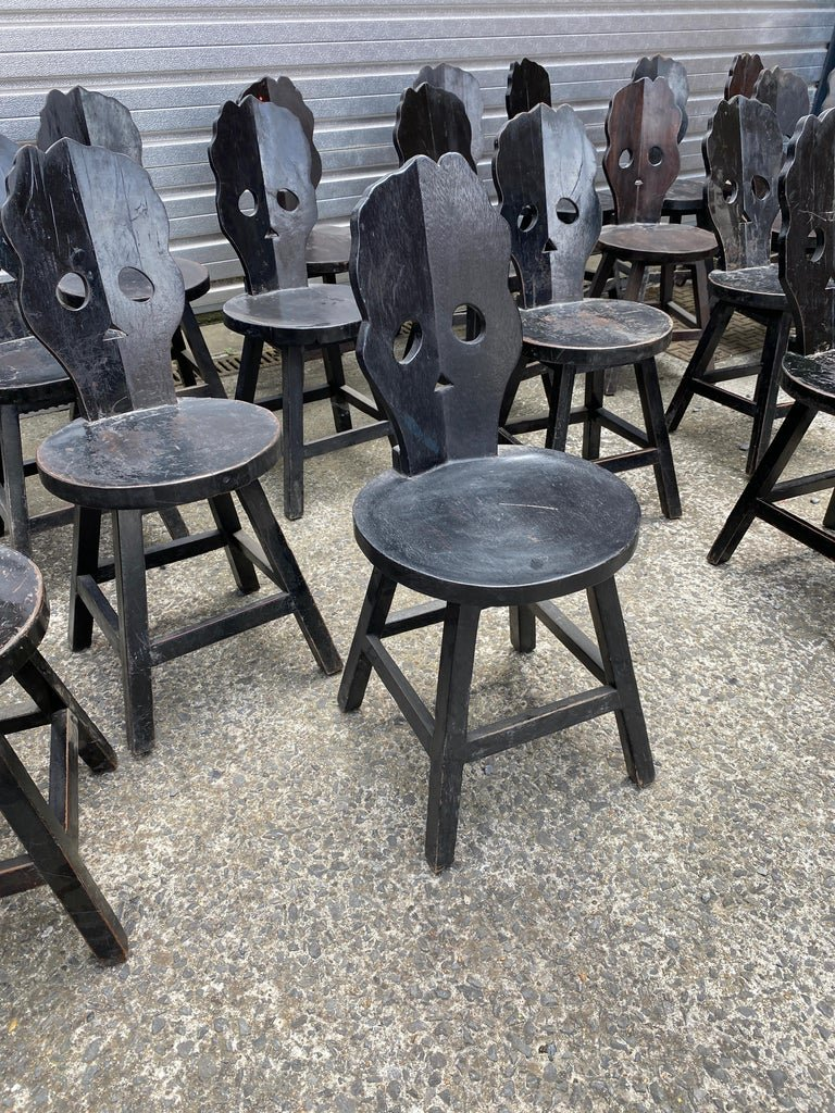 Important Suite Of 44 Brutalist Chairs In Blackened Wood Circa 1970, Sold Per Unit-photo-3