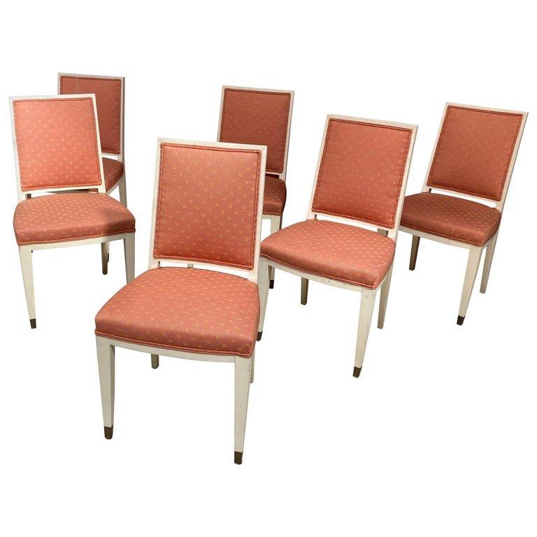 6 Chaises Art Deco Dans Le Style De Andre Arbus