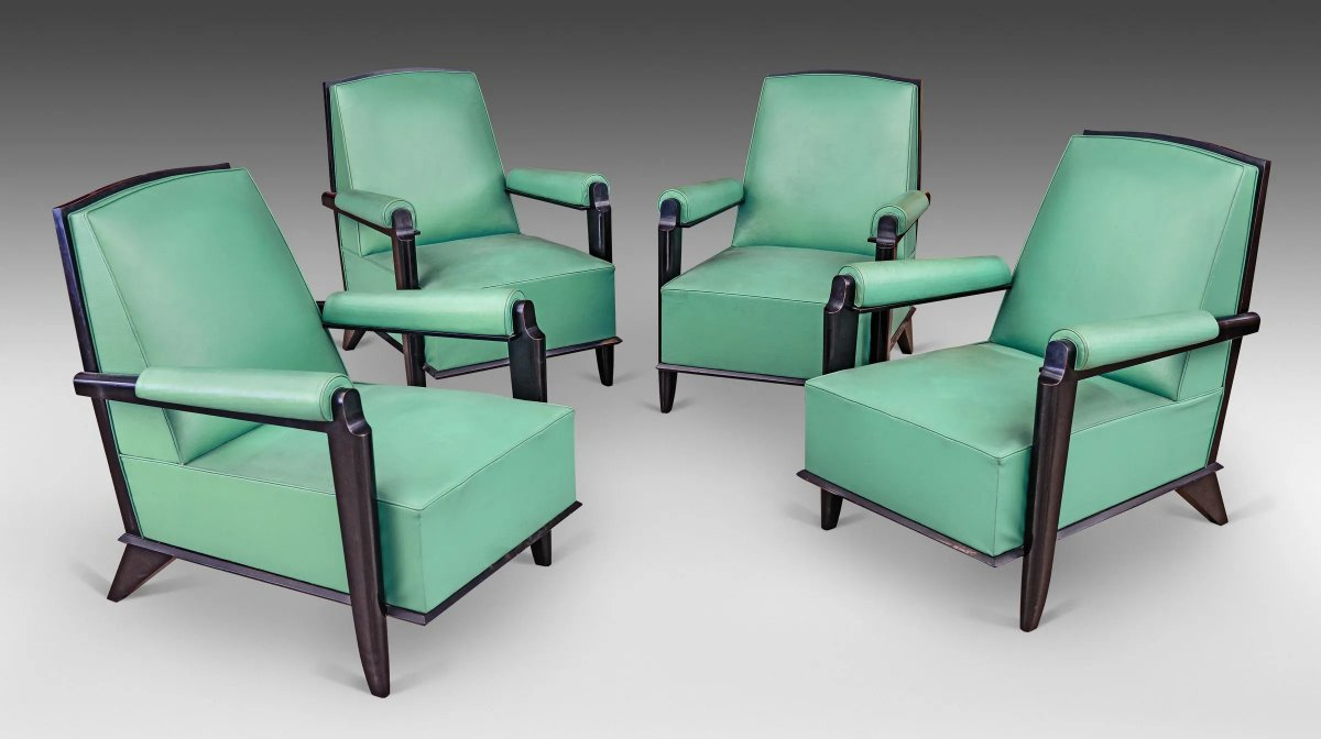 Suite Of 4 Art Deco Armchairs In Lacquered Wood Attributed To Jean Pascaud, Circa 1940/1950-photo-1
