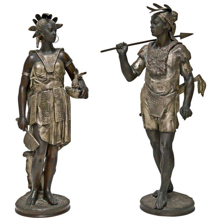 Jean Jules B. Salmson (1823-1902) Couple Of Amerindians; Regulates Black And Silver Patina,