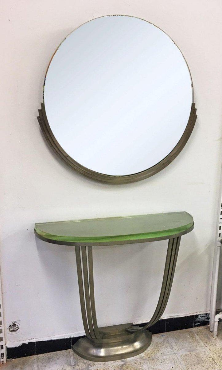 Console Et Son Miroir Art Deco En Bronze Nickelé Circa 1930-photo-2